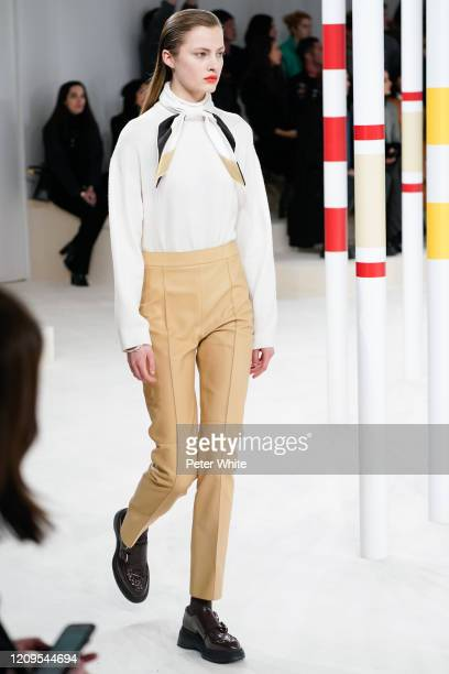Kiki Willems walks the runway during the Hermes as part of the Paris Fashion Week Womenswear Fall/Winter 2020/2021 on February 29 2020 in Paris France