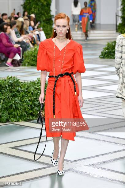 Kiki Willems walks the runway during Tory Burch NYFW SS20 at the Brooklyn Museum on September 08, 2019 in Brooklyn City.