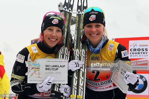 Kikkan Randall and Sadie Bjornsen of the United States celebrates their second place of 6x 0,8 kilometer women's team sprint of the FIS Cross Country...