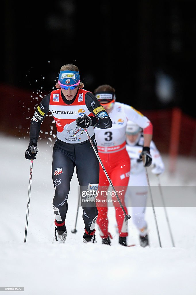 Kikkan Randall of the United States competes in the Women's 9km Classic Pursuit at the FIS Cross Country World Cup event at DKB Ski Arena on December 30, 2012 in Oberhof, Germany.