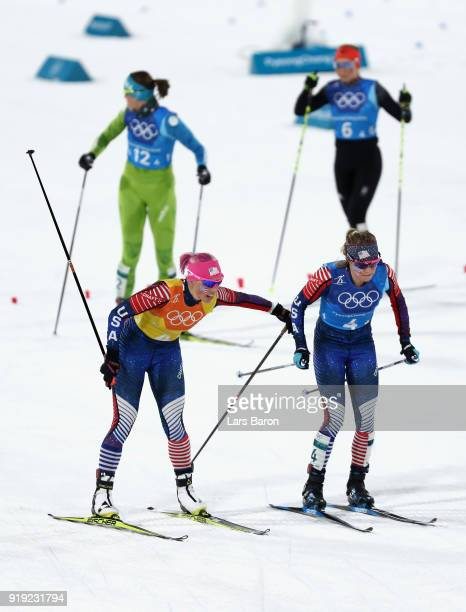 Kikkan Randall of the United States hands over to Jessica Diggins of the United States during the Ladies' 4x5km Relay on day eight of the PyeongChang...