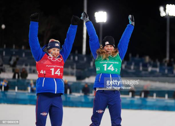 Kikkan Randall of USA and Jessica Diggins of USA on the podium during the women's Cross Country Team Sprint Free Technique at Alpensia CrossCountry...