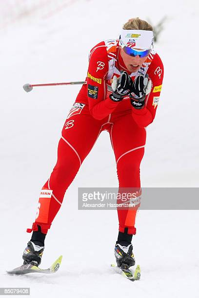 Kikkan Randall of USA competes during the Ladies Cross Country Team Sprint at the FIS Nordic World Ski Championships 2009 on February 25 2009 in...