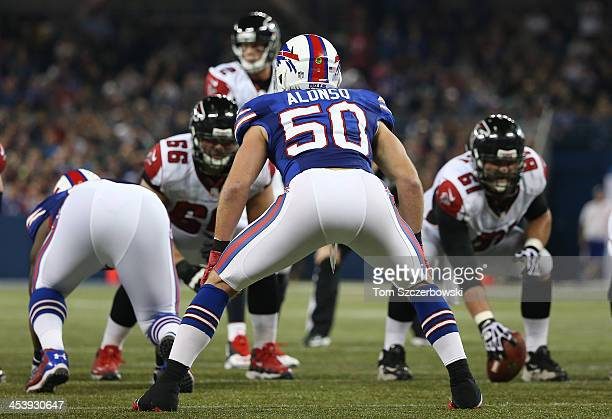 Kiko Alonso of the Buffalo Bills lines up against the Atlanta Falcons offense at Rogers Centre on December 1, 2013 in Toronto, Ontario, Canada.
