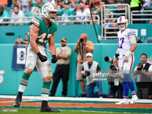 Kiko Alonso of the Miami Dolphins reacts during the third quarter against the Buffalo Bills at Hard Rock Stadium on December 2 2018 in Miami Florida