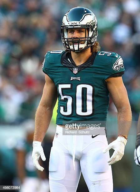 Kiko Alonso of the Philadelphia Eagles in action against the Miami Dolphins during a football game at Lincoln Financial Field on November 15, 2015 in...