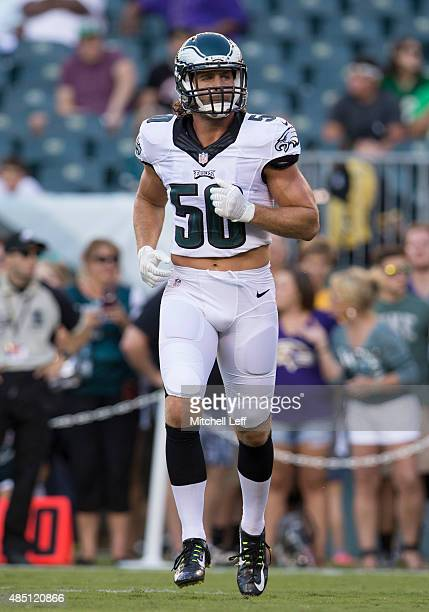 Kiko Alonso of the Philadelphia Eagles warms up prior to the game against the Baltimore Ravens on August 22, 2015 at Lincoln Financial Field in...