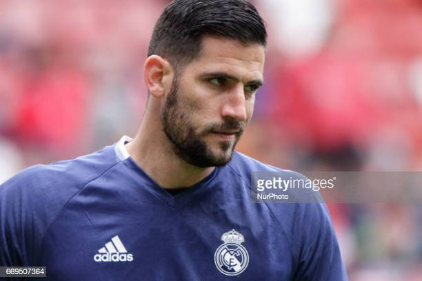 Kiko Casilla goalkeeper of Real Madrid during the La Liga Santander match between Sporting de Gijon and Real Madrid at Molinon Stadium on April 15...