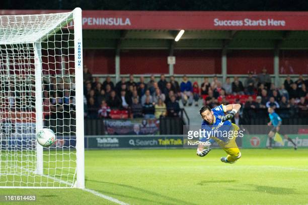 Kiko Casilla makes a save during the Carabao Cup match between Salford City and Leeds United at Moor Lane Salford on Tuesday 13th August 2019