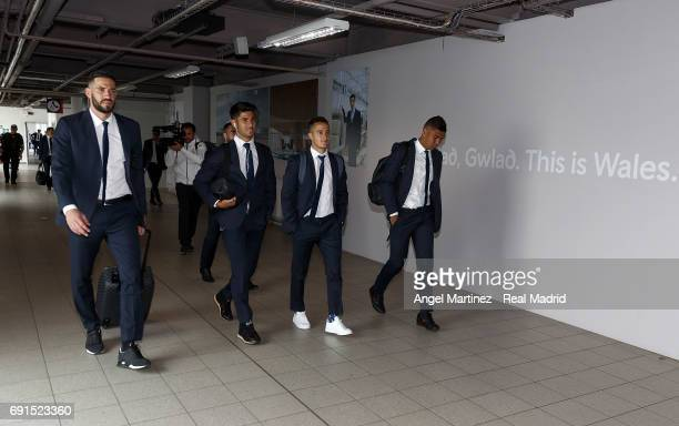 Kiko Casilla Marco Asensio Lucas Vazquez and Casemiro of Real Madrid arrive prior to the UEFA Champions League Final between Juventus and Real Madrid...