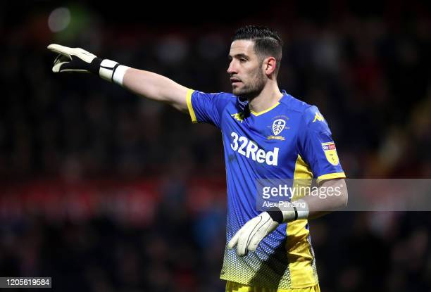Kiko Casilla of Leeds during the Sky Bet Championship match between Brentford and Leeds United at Griffin Park on February 11 2020 in Brentford...