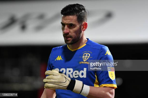 Kiko Casilla of Leeds reacts during the Sky Bet Championship match between Brentford and Leeds United at Griffin Park London on Tuesday 11th February...