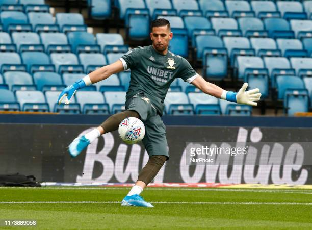 Kiko Casilla of Leeds United during the prematch warmup during English Sky Bet Championship between Millwall and Leeds United at The Den London...