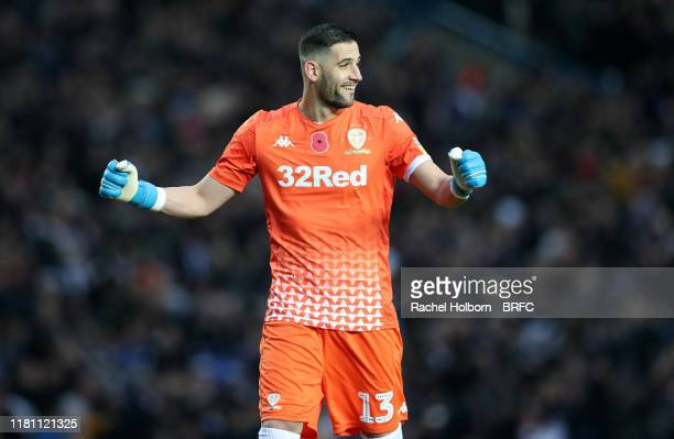Kiko Casilla of Leeds United during the Sky Bet Championship match between Leeds United and Blackburn Rovers at Elland Road on November 9 2019 in...
