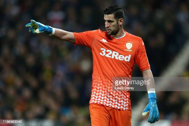 Kiko Casilla of Leeds United issues instructions to his team during the Sky Bet Championship match between West Bromwich Albion and Leeds United at...