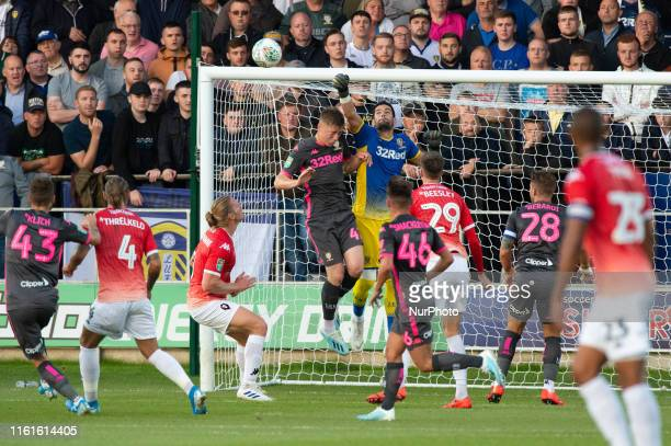 Kiko Casilla of Leeds United makes a save during the Carabao Cup match between Salford City and Leeds United at Moor Lane Salford on Tuesday 13th...