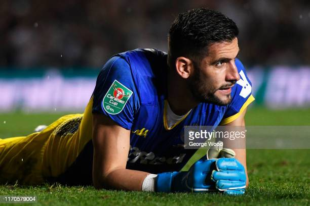 Kiko Casilla of Leeds United reacts during the Carabao Cup second round match between Leeds United and Stoke City at Elland Road on August 27 2019 in...