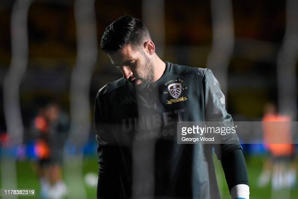 Kiko Casilla of Leeds United reacts prior to the Sky Bet Championship match between Leeds United and West Bromwich Albion at Elland Road on October...