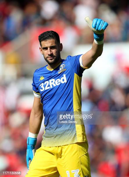 Kiko Casilla of Leeds United shows appreciation to the fans after the the Sky Bet Championship match between Stoke City and Leeds United at Bet365...