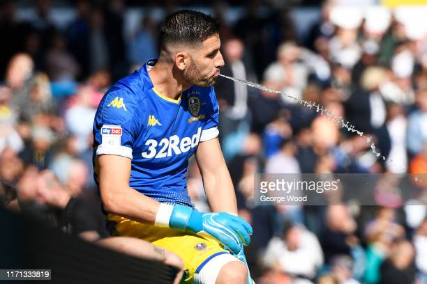 Kiko Casilla of Leeds United spits out some water during the Sky Bet Championship match between Leeds United and Swansea City at Elland Road on...