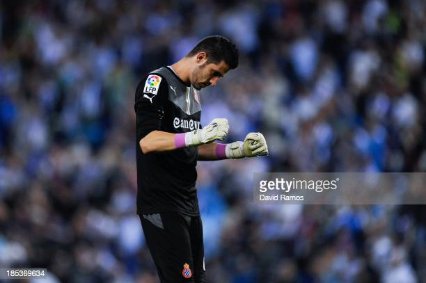 Kiko Casilla of RCD Espanyol celebrates after Sergio Garcia of RCD Espanyol scored the opening goal during the La Liga match between RCD Espanyol and...