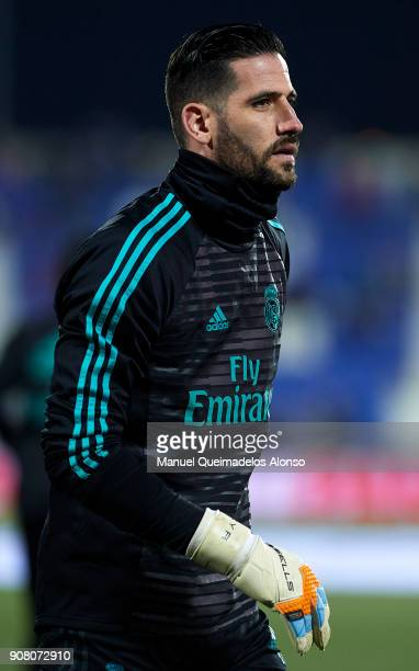 Kiko Casilla of Real Madrid CF warm up during the Copa del Rey quarter final first leg match between Real Madrid CF and Club Deportivo Leganes at...