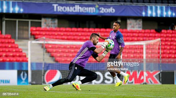Kiko Casilla of Real Madrid during a training session at Lerkendal Stadion on August 8 2016 in Trondheim Norway