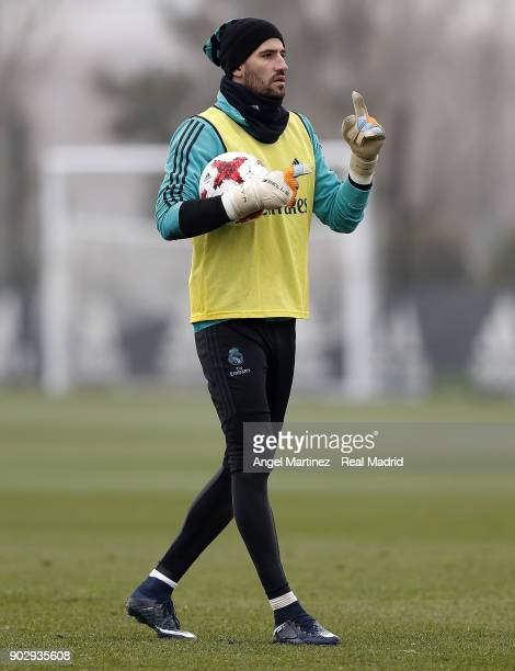 Kiko Casilla of Real Madrid gestures during a training session at Valdebebas training ground on January 9 2018 in Madrid Spain