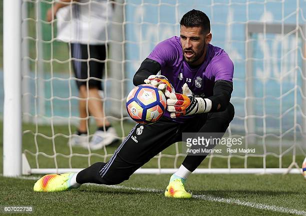Kiko Casilla of Real Madrid in action during a training session at Valdebebas training ground on September 17 2016 in Madrid Spain