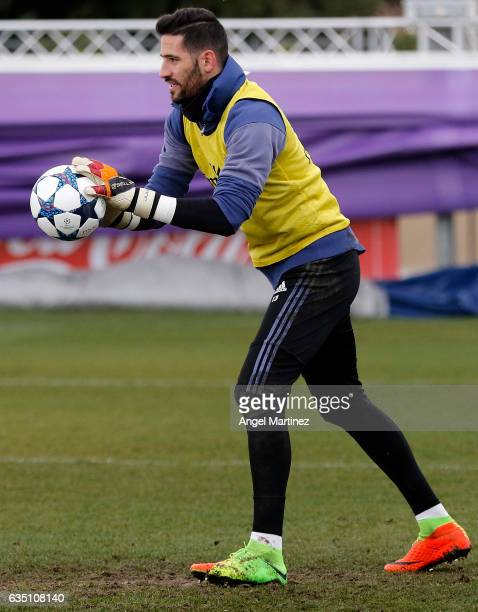 Kiko Casilla of Real Madrid in action during a training session at Valdebebas training ground on Frebuary 13 2017 in Madrid Spain
