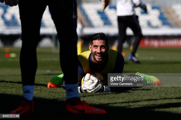 Kiko Casilla of Real Madrid in action during a training session at Valdebebas training ground on February 25 2017 in Madrid Spain
