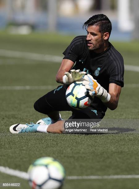 Kiko Casilla of Real Madrid in action during a training session at Valdebebas training ground on August 19 2017 in Madrid Spain