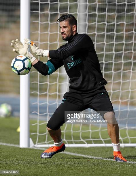 Kiko Casilla of Real Madrid in action during a training session at Valdebebas training ground on October 21 2017 in Madrid Spain