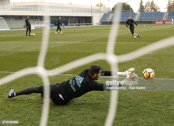 Kiko Casilla of Real Madrid in action during a training session at Valdebebas training ground on November 24 2017 in Madrid Spain