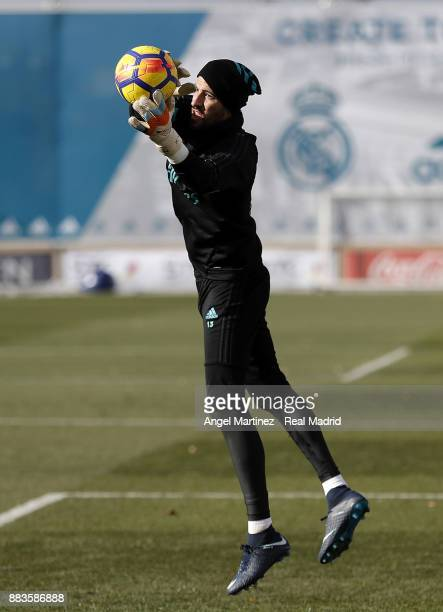 Kiko Casilla of Real Madrid in action during a training session at Valdebebas training ground on December 1 2017 in Madrid Spain