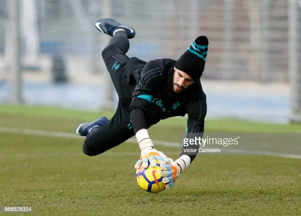 Kiko Casilla of Real Madrid in action during a training session at Valdebebas training ground on December 8 2017 in Madrid Spain