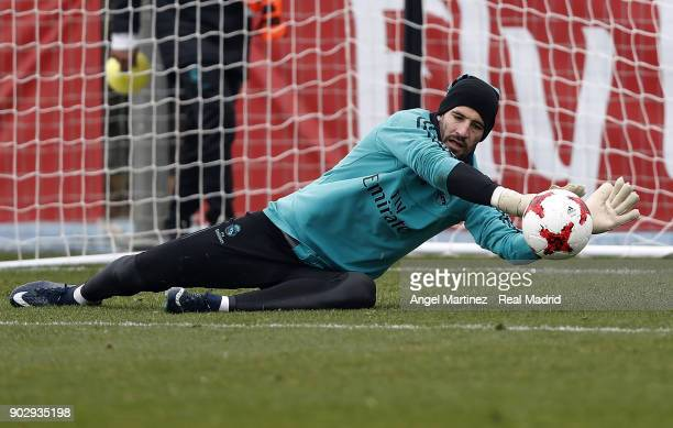 Kiko Casilla of Real Madrid in action during a training session at Valdebebas training ground on January 9 2018 in Madrid Spain