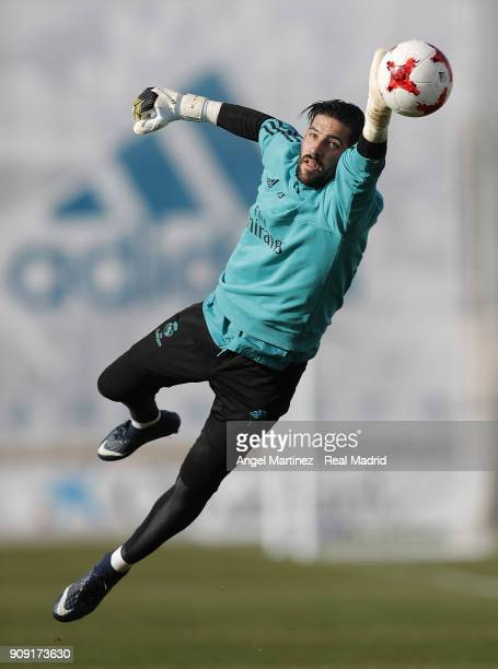 Kiko Casilla of Real Madrid in action during a training session at Valdebebas training ground on January 23 2018 in Madrid Spain