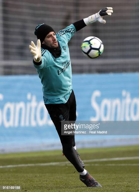 Kiko Casilla of Real Madrid in action during a training session at Valdebebas training ground on February 9 2018 in Madrid Spain