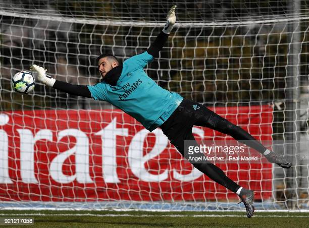 Kiko Casilla of Real Madrid in action during a training session at Valdebebas training ground on February 20 2018 in Madrid Spain