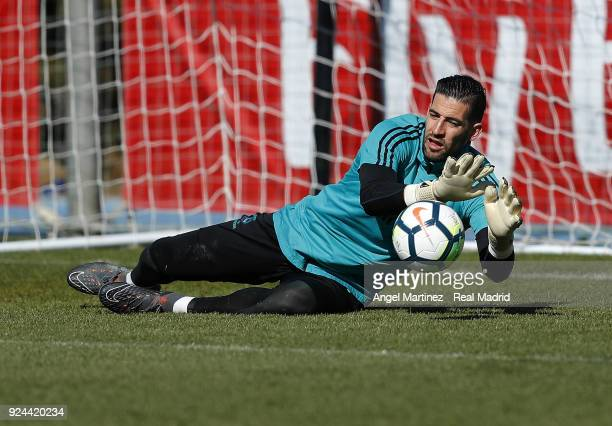 Kiko Casilla of Real Madrid in action during a training session at Valdebebas training ground on February 26 2018 in Madrid Spain