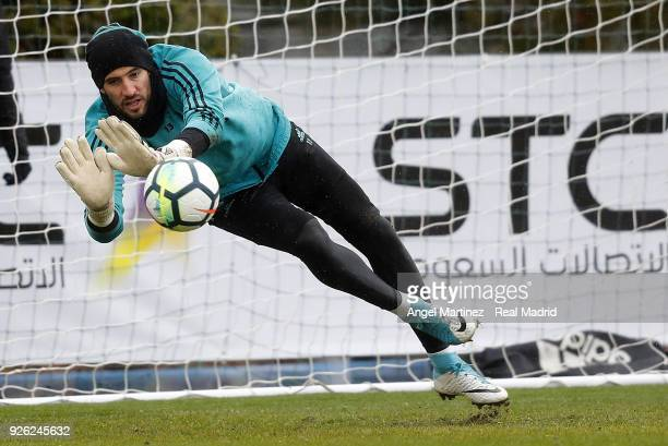 Kiko Casilla of Real Madrid in action during a training session at Valdebebas training ground on March 2 2018 in Madrid Spain