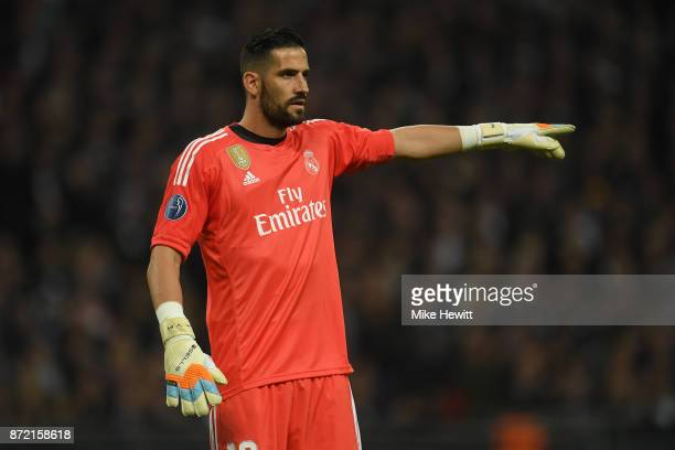 Kiko Casilla of Real Madrid in action during the UEFA Champions League group H match between Tottenham Hotspur and Real Madrid at Wembley Stadium on...