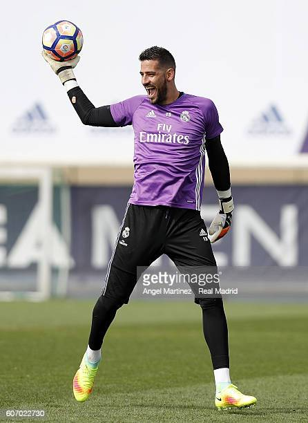 Kiko Casilla of Real Madrid reacts during a training session at Valdebebas training ground on September 17 2016 in Madrid Spain