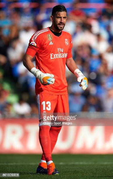 Kiko Casilla of Real Madrid reacts during the La Liga match between Getafe and Real Madrid at Estadio Coliseum Alfonso Perez on October 14 2017 in...