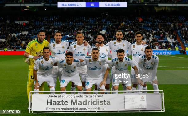 Kiko Casilla of Real Madrid Sergio Ramos of Real Madrid Marcos Llorente of Real Madrid Isco Alarcon of Real Madrid Karim Benzema of Real Madrid Marco...