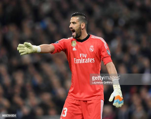Kiko Casilla of Real Madrid shouts instructions during the UEFA Champions League group H match between Tottenham Hotspur and Real Madrid at Wembley...