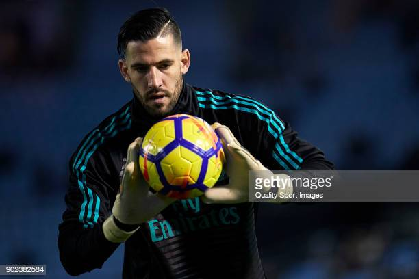 Kiko Casilla of Real Madrid warms up prior to the La Liga match between Celta de Vigo and Real Madrid at Estadio de Balaidos on January 7 2018 in...