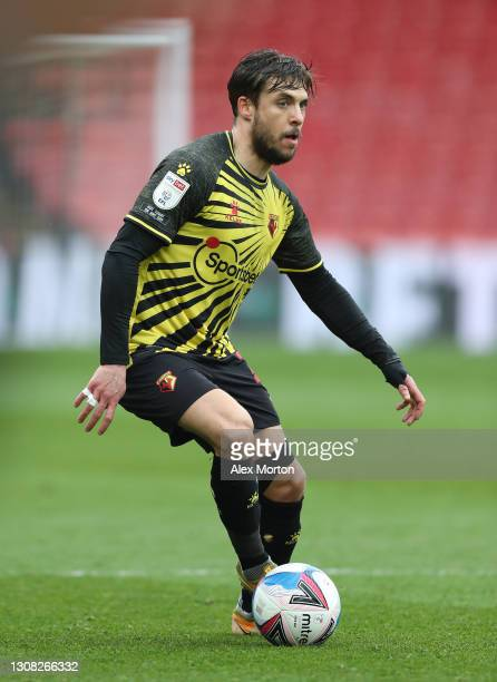 Kiko Femenía of Watford during the Sky Bet Championship match between Watford and Birmingham City at Vicarage Road on March 20, 2021 in Watford,...