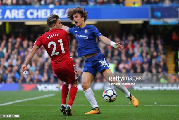 Kiko Femenia of Watford and David Luiz of Chelsea during the Premier League match between Chelsea and Watford at Stamford Bridge on October 21 2017...
